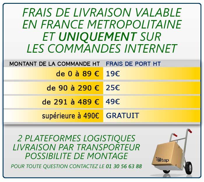 Tableau des tarifs de livraison appiqués aux commendes sur tap-france.com