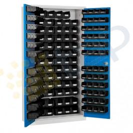Armoire à bacs haute portes battantes livrée avec bacs recycles
