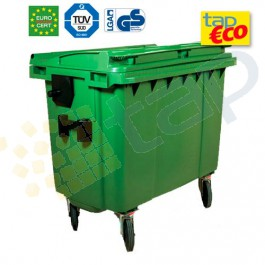 Cassonetti per rifiuti con 4 ruote 770 litri verde.