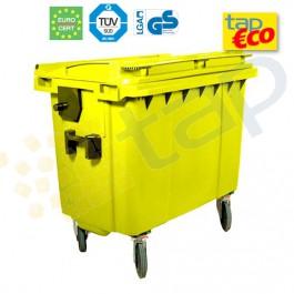 Cassonetto per rifiuti con 4 ruote 660 litri giallo