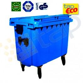 Cassonetto per rifiuti con 4 ruote 660 litri blu