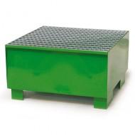 Vasca di contenimento per 1 fusto verniciata di verde con griglia