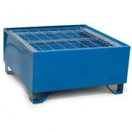 Vasca di ritenzione verniciata blu per 1 fusto con griglia Wireline®