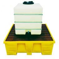 Vasca di raccolta rinforzata in PEAD per 1 GRG/IBC con griglia in PEAD