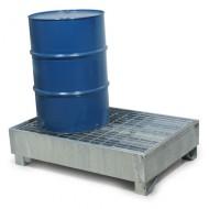 Vasca di ritenzione zincata per 2 fusti con griglia Wireline®
