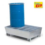 Vasca di raccolta zincata per 2 fusti con griglia Wireline®