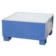 Vasca di contenimento verniciata blu per 1 fusti con griglia