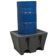 Vasca di raccolta in  PEAD per 1 fusto con griglia in acciaio pressato