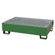 Vasca di contenimento verniciata verde per 2 fusti con griglia pressata.