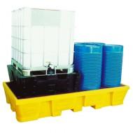 Vasca di raccolta in PEAD per 2 GRG/IBC 1050 lt - Griglia zincata
