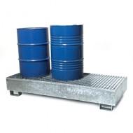 Vasca di ritenzione zincata per 3 fusti in linea con griglia pressata