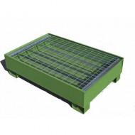 Vasca di ritenzione verniciata di verde per 2 fusti con griglia Wireline®