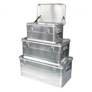 Lotto di 3 contenitori in alluminio con maniglie laterali