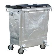 Cassonetto in acciaio per rifiuti con coperchio di plastica