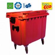 Cassonetto per rifiuti con 4 ruote 660 litri rosso