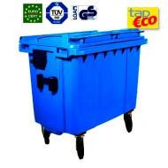 Cassonetto per rifiuti con 4 ruote 1000 litri blu