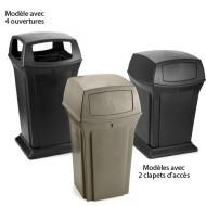 Contenitore fisso per rifiuti beige con 2 aperture.