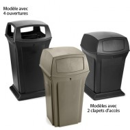 Contenitore fisso per rifiuti nero con 4 aperture, 170 litri.