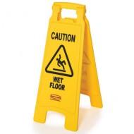 """Segnalazione di pericolo su 2 facciate ''Caution Wet Floor"""""""