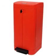 Contenitore per rifiuti rosso apertura a pedale, 100 litri.