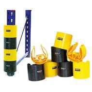Lotto di 4 protezioni per montanti: 2 neri e 2 gialli (80 mm)