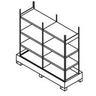 Scaffalatura doppia per piccoli contenitori con cassetta di raccolta ripiani semplici