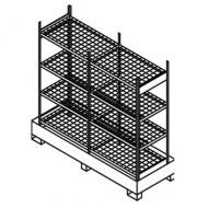 Scaffalatura doppia per piccoli contenitori con cassetta di raccolta e ripiani grigliati