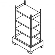 Scaffalatura  per piccoli contenitori con cassetta di raccolta e 4 ripiani semplici