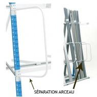 Separatore ad arco estremità sinistra per gli scaffali dai carichi lunghi