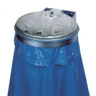 Supporto murale con coperchio per sacchi rifiuti zincato