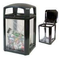 Contenitore per residui di sicurezza, con pareti trasparenti, nera